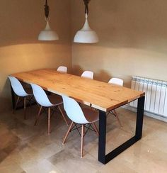 wood and iron mesa comedor industria. madera y hierro dining table industry. Iron Furniture, Living Furniture, Interior Design Living Room, Furniture Design, Modern Table And Chairs, Diy Esstisch, Diy Dining Table, Room Decor, Decoration