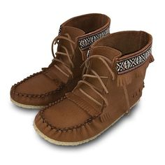 Women's Elk Leather Moccasin Boots with sole - 137597MAL