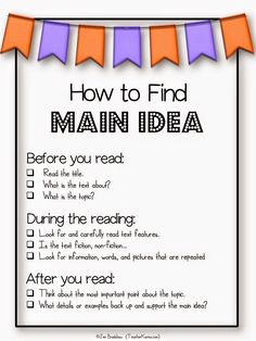 How to find main idea with these free anchor charts, posters, strategies, and activities to improve reading comprehension in your classroom. Reading Lessons, Reading Strategies, Reading Skills, Teaching Reading, Guided Reading, Close Reading, Math Lessons, Teaching Main Idea, Teaching Themes
