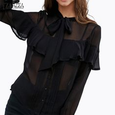 Oversized Pullovers 2017 Summer ZANZEA Women Blouses Shirts Sexy Casual Long Sleeve Ruffles Transparent Blusas Tops #Affiliate