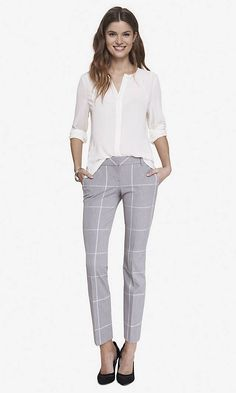 windowpane plaid columnist ankle pant from express. I need these pants.