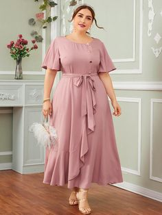 Plus Flutter Sleeve Buttoned Front Ruffle Trim Self Belted Dress Casual Frocks, Casual Dresses, Plus Size Dresses, Plus Size Outfits, Pretty Dresses, Beautiful Dresses, Long Dress Design, Looks Plus Size, Designs For Dresses
