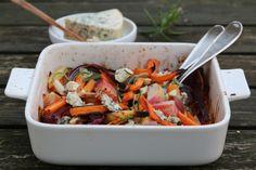 Ovnsbakte Rotgrønnsaker med Selbu Blå
