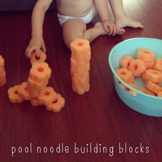 Slice up a pool noodle and you've got fun, inexpensive, and *silent* building blocks.