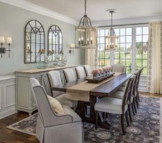 45 + Luxury French Country Dining Room Decor - Home By X Dining Room Table Decor, Dining Room Walls, Dining Room Design, Living Room, Dining Room Decor Elegant, Dinning Room Ideas, Mirrors In Dining Room, Decor Room, Dining Room With Buffet