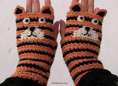 Crochet Tiger Fingerless Gloves/Mitts
