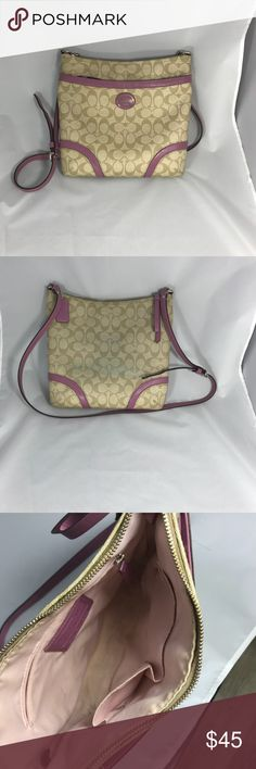 Coach Shoulder Purse Authentic Coach Purse Used but in good condition  Adjustable shoulder strap  Purple and Tan  Stains on the inside and ware on Zipper Coach Bags Shoulder Bags