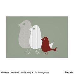 Abstract Little Bird Family Baby Nursery Poster