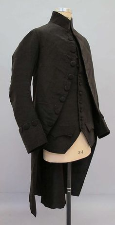 I read early on that most men in the 18th century (wealthy men), had three staple suits. Black, great and brown (just like now), but that very few examples survive, as men wore them out.