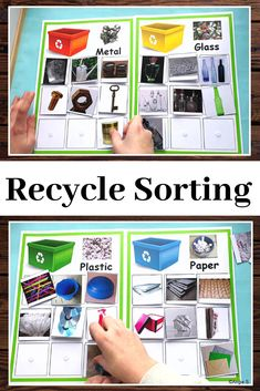What a fun activity for Earth Day! Easy recycle sorting for special education and kindergarten. Your students will love this! Special Education Activities, Autism Activities, Sorting Activities, Special Education Classroom, Science Activities, Educational Activities, Teacher Resources, Teaching Ideas, Classroom Resources
