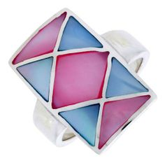 """Sterling Silver Crisscross Design Rectangular Shell Ring, w/Pink & Blue Mother of Pearl Inlay, 1"""" (25mm) wide, size 10 Sabrina Silver. $37.50"""