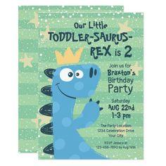 Funny T-Rex Dinosaur Theme Toddler Boy's Birthday Invitation 2 Year Old Birthday Party, Dinosaur Birthday Party, Boy Birthday Parties, 3rd Birthday, Boy Toddler Birthday Party Ideas 2 Year Olds, Birthday Board, Toddler Boy Birthday, Birthday Themes For Boys, Birthday Ideas