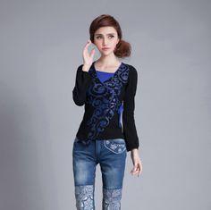 Oriental Style Open Neck Long Sleeve Shirt - Black - Chinese Shirts & Blouses - Women