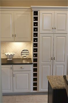 kitchen built in storage with wine rack - Google Search