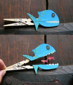 Clever clothespin crafts - I would do it with a whale and put Jonah inside. For Sunday school someday! ***Great hand strengthening idea!!***
