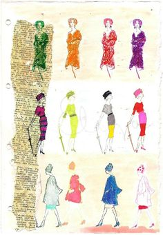 What I have done with our vintage fashion illustration stamps from The White Cabinet! For my art journal