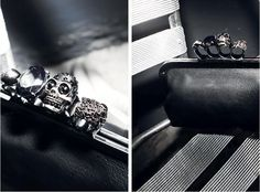 Skull ring leather clutch