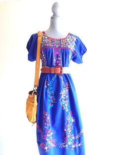 Vintage Mexican Embroidered hippie dress by VintageMindedMaven,