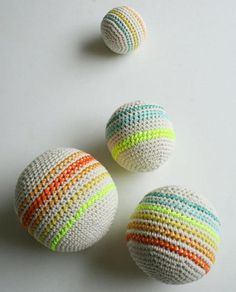 "Crochet Balls - via The Purl Bee - LOVE these! "" These soft and squishy Crocheted Balls are just right for little explorers. A simple crocheted sphere serves as a canvas for colorful cross-stitched. All Free Crochet, Crochet For Kids, Single Crochet, Easy Crochet, Knit Crochet, Crochet Motifs, Crochet Toys Patterns, Craft Patterns, Crochet Stitches"