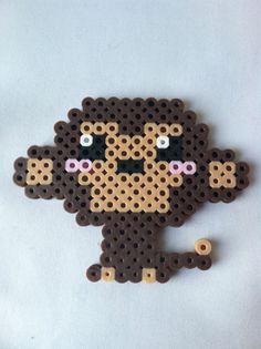 Perler Bead Kawaii Monkey by GeektasticCrafts Melty Bead Patterns, Pearler Bead Patterns, Perler Patterns, Beading Patterns, Leaf Patterns, Perler Beads, Perler Bead Art, Fuse Beads, Pixel Beads