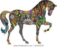 Descubra esta foto y millones de fotos, ilustraciones y vectores exentos de cargos más en stock en la colección de Shutterstock. Se agregan miles de imágenes nuevas de alta calidad todos los días. Dot Painting Tools, Tole Painting Patterns, Dot Art Painting, Watercolor Art, Painted Horses, Frida Art, African Art Paintings, Horse Artwork, Coloring Book Art