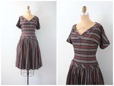 vintage 1950s striped dress  drop waist / School Girl by AgeofMint