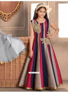 3e97cf9e5e895 Classy Blue N Red Banasari silk Gown Model: YOG328 Navy Fabric, Silk Fabric,