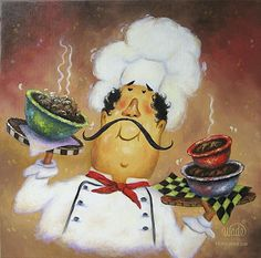 Vickie Wade Premium Thick-Wrap Canvas Wall Art Print entitled Three Bowl Chef, None Chef Pictures, Kitchen Pictures, Fat Chef Kitchen Decor, Poster Prints, Art Prints, Illustration, Le Chef, Kitchen Wall Art, Cool Paintings