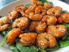 Hoisin and Sesame Seed Shrimp  Serves: Two (or four as a side)  Prep Time: 10 minutes (including the time it take to peel shrimp)  Cook Time: 6 minutes  Ingredients:  1 lb. peeled and deveined medium shrimp  2 tbsp. hoisin sauce  1 tbsp. low sodium soy sauce  1 tsp. brown sugar  2 tsp. sesame seeds