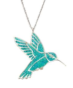 Fly High - Silver Hummingbird Necklace With Turquoise Pattern