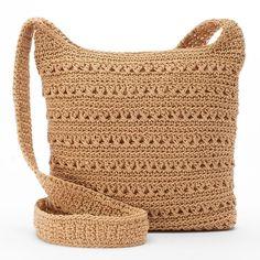 Croft & Barrow® Crochet Harmony Crossbody Bag ($34) ❤ liked on Polyvore featuring bags, handbags, shoulder bags, green, crochet purse, handbags shoulder bags, crossbody purse, green crossbody purse and hand bags