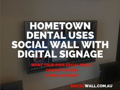 HOMETOWN DENTAL USES SOCIAL WALL WITH DIGITAL SIGNAGE #Dental, #DigitalSignage, #Hometown, #Social, #SocialBoards, #SocialMarketing, #SocialMedia, #SocialStrategy, #SocialWall - https://socialwall.com.au/hometown-dental-uses-social-wall-with-digital-signage/