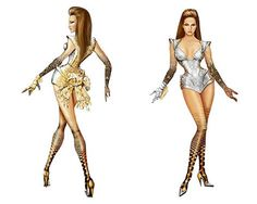 Thierry Mugler's sketches that brought Sasha to life.