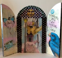 wooden triptych that is collaged and says by DianaDDarden on Etsy