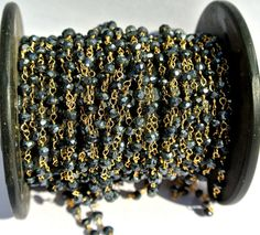 22Kt Gold Vermeil Genuine Mystic Black by GemsAndBeadsEmporium