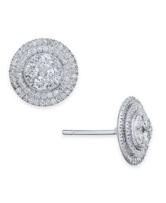 Diamond Halo Cluster Stud Earrings (7/8 ct. t.w.) in 14k White Gold - Gold