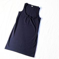 J. Crew Navy Ruffle Neck Sleeveless Shift Dress Preppy, polished, and perfect! This navy J. Crew dress is perfect for spring and summer! Looks great by itself or layered with a cardigan.   Made with a high quality blend that allows for full coverage but not too thick as to make the dress too heavy. Reasonable offers welcome! J. Crew Dresses