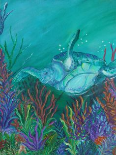 #Sea #turtle in #Tybee #beach #home. #Painted by #Ann #Lutz.