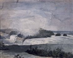 """Niagara from American Side,"" William Dunlap, 1815, watercolor, graphite on wove paper, 8 15/16 x 12 1/16"", Addison Gallery of American Art."