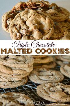 Chocolate Malt Cookies are made with Carnation Malted Milk Powder and Baker's Chocolate Morsels. Delicious melt in your mouth chocolate cookies recipe that you don't want to miss. #maltedmilkpowder #chocolatemaltcookie