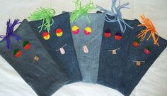 Recycled jeans become water bottle crunchie covers for muted munching.