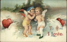 Valentine Cupids Whisper in Snow ELLEN CLAPSADDLE c1910 Postcard