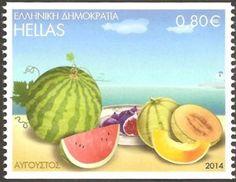Sello: August (Grecia) (The twelve months in folk art) Mi:GR 2767C,Sn:GR 2626a
