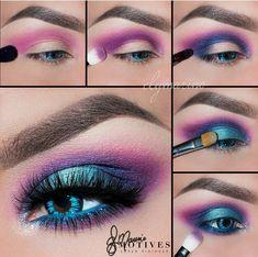 Purple Eye Makeup Electric Neon Turquoise Blue Purple Pink Eye Makeup Purple Eye Makeup Easy Eyeshadow Tutorial Purple And Light Pink Charlotta Eve. Purple Eye Makeup Purple Eye Makeup Beautiful Eye Makeup Close Up. 80s Eye Makeup, 80s Makeup Trends, Makeup Inspo, Eyeshadow Makeup, Makeup Inspiration, Makeup Brushes, Makeup Tips, Face Makeup, Makeup Ideas