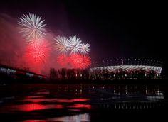 Soccer fireworks polish poland warsaw stadium rivers vistula wisla 6126x4476 wallpaper