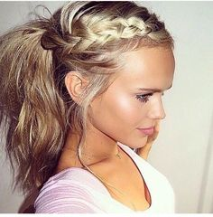 Bright blonde hair in a side dutch braid and big, messy ponytail Messy Ponytail Hairstyles, Pretty Hairstyles, Wedding Hairstyles, Short Hairstyles, Braid Ponytail, Hairstyles 2016, Casual Hairstyles, Everyday Hairstyles, Braided Updo