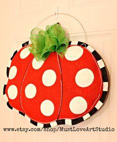 Fall Autumn Pumpkin Burlap Door Hanger Decoration HUGE - Polka Dots Halloween