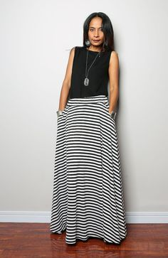 Striped skirt / Maxi Skirt   Long Black and White Skirt by Nuichan, $55.00