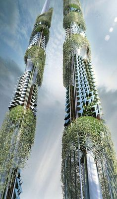 The Taiwan Tower is a Sustainable Twin Syscraper for the Century by Vienna-based architect Steven Ma in Collaboration with San Liu, Xinyu Wan, and Emre Icdem. this building reminds me of the final scenes of avatar. very futuristic Architecture Durable, Architecture Unique, Architecture Magazines, Futuristic Architecture, Sustainable Architecture, Landscape Architecture, Classical Architecture, Architecture Events, Famous Architecture