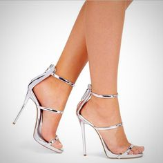 39b2b6a7348d94 Metallic Strap Silver Gold Gladiator High Heel Shoes Ankle Strap High Heels